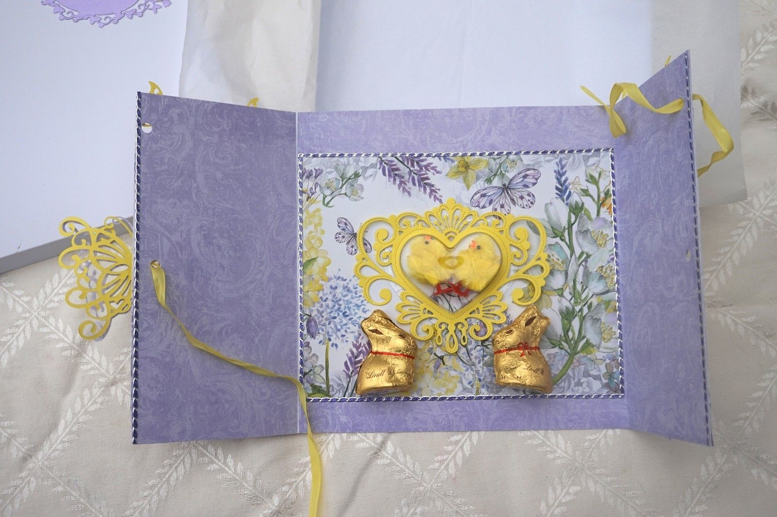 Made Keepsake Easter Card with Lindt Chocolate Bunnies Stunning – Boxed Easter Cards